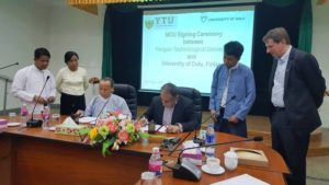 MoU between Yangon Technological University and University of Oulu paving the path for training cooperation and mobility